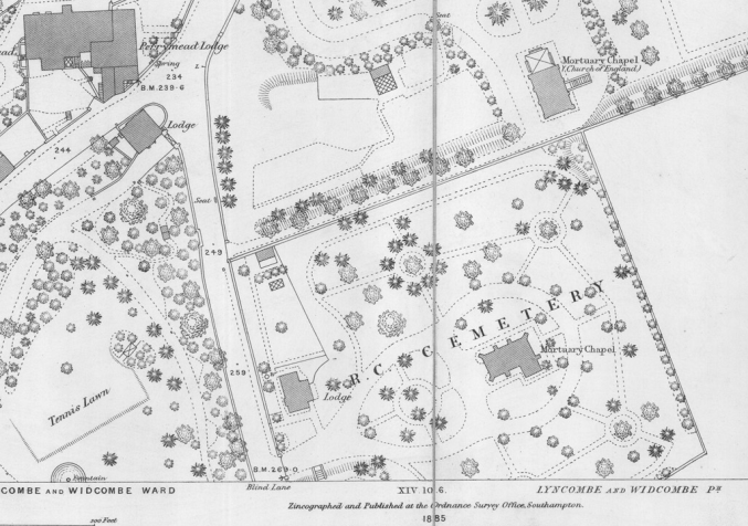 Layout of the cemetery in 1885.png