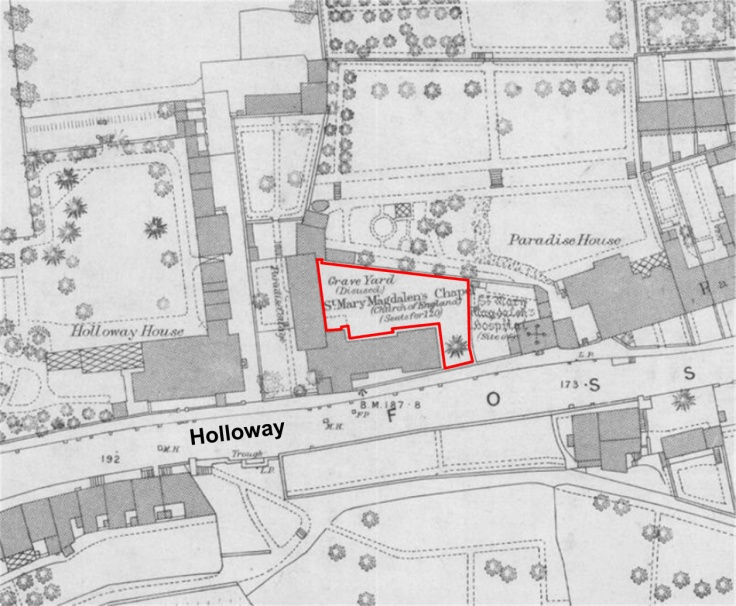 Location of St Mary Magdalen's graveyard (from the OS 1885 map).jpg