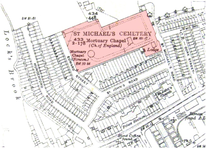 The location of St Michael's Cemetery, Lower Weston.jpg