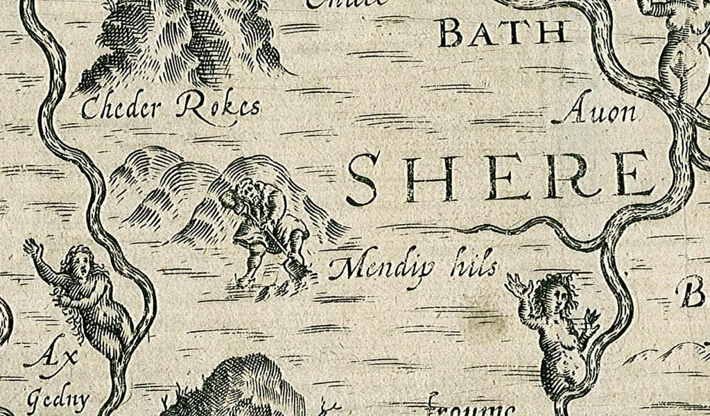 Part of an old map with drawings of figures relating to the geographical features