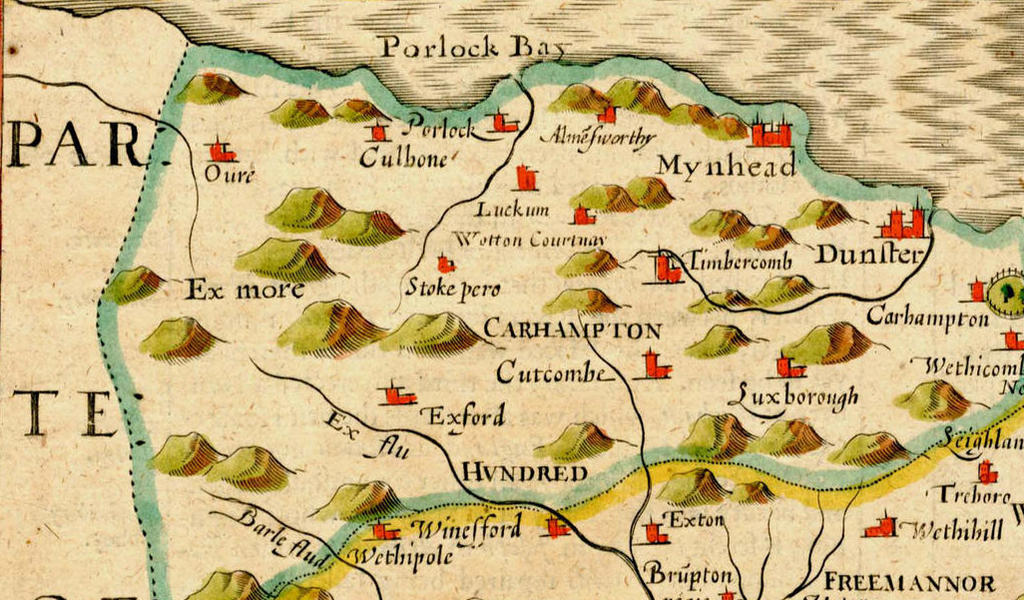Colourful map showing Exmoor and other Somerset towns and features