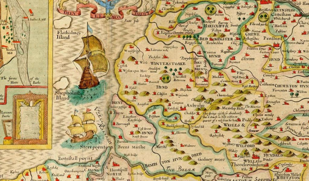 Colourful old map showing the Somerset coast and ships