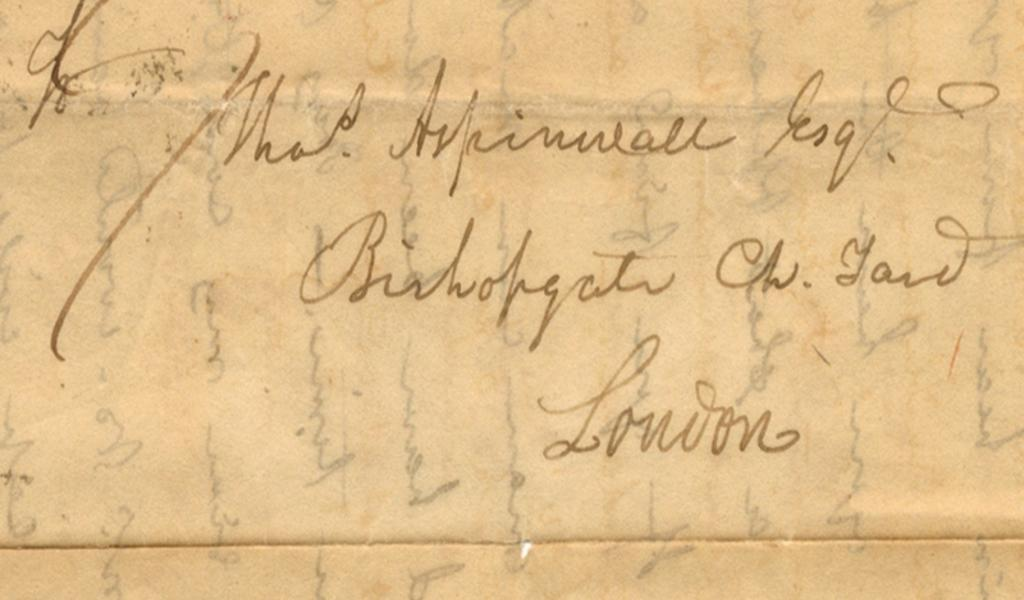 Part of the letter addressed to Thomas Aspinwall (ref.1020)