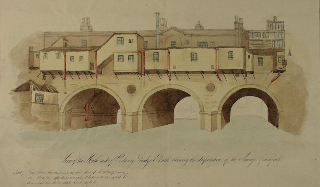 watercolour sketch of the rear of Pulteney Bridge