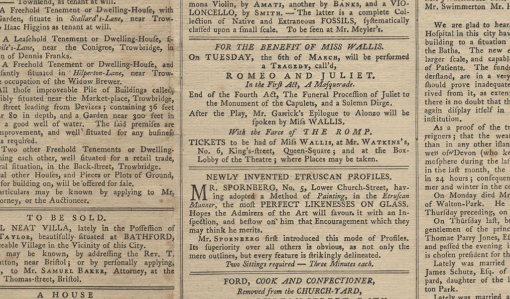 Part of a page from a Bath newspaper, 1792