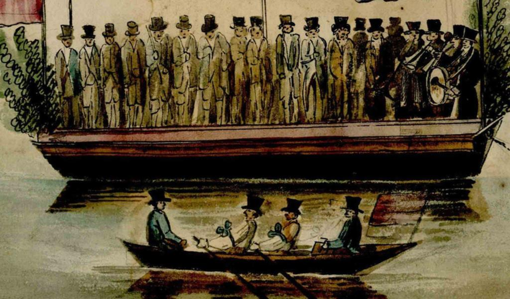 Part of the drawing at the head of the document, showing church and civic dignitaries in formal dress on a small boat on the river.