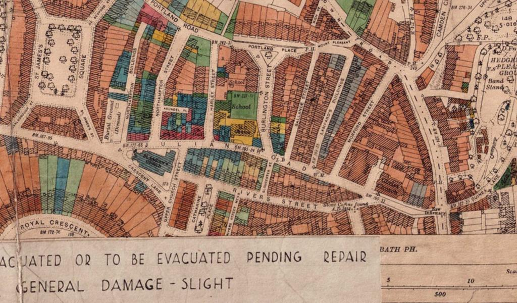 Part of a map showing buildings damaged in the 1942 bombing raids