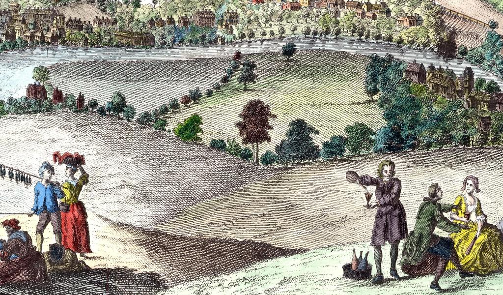 Part of an engraving by Samuel and Nathaniel Buck of 'The South-East Prospect of the City of Bath', 1734.