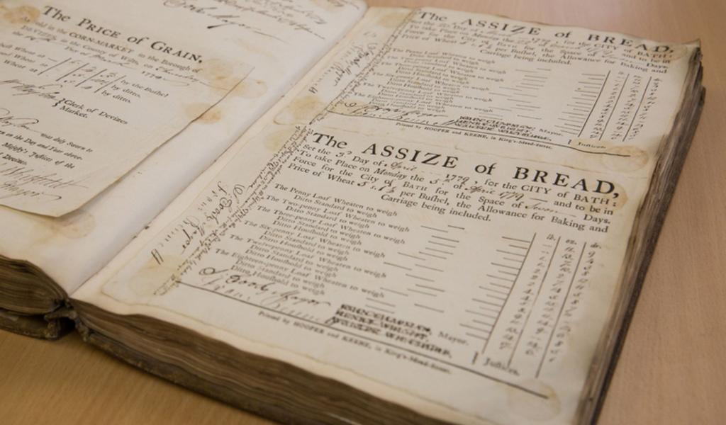 Photograph of a page from the Assize of Bread, 3rd April 1779