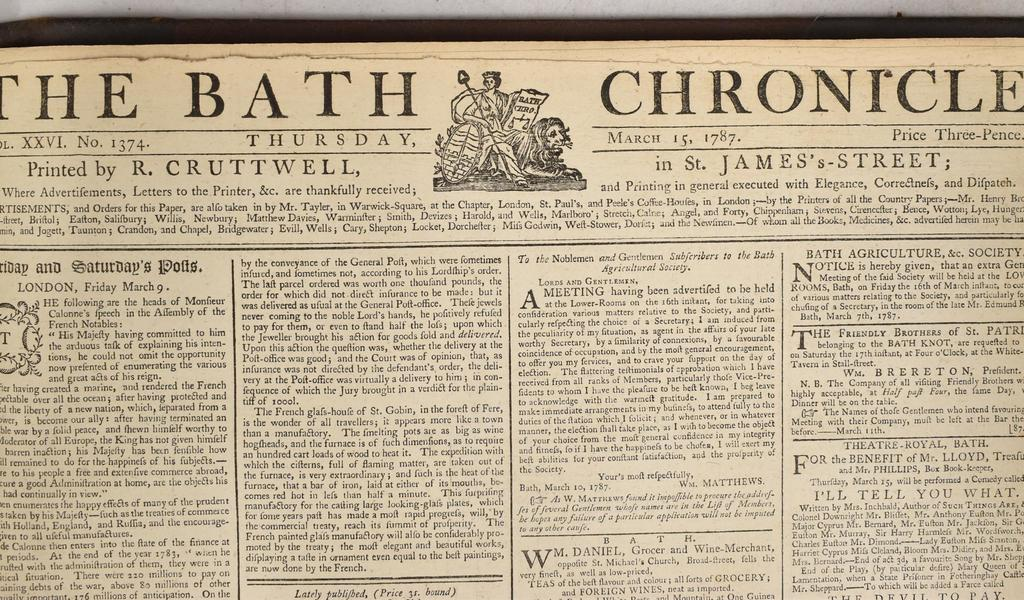 Image: Masthead of the Bath Chronicle, 15 March 1787