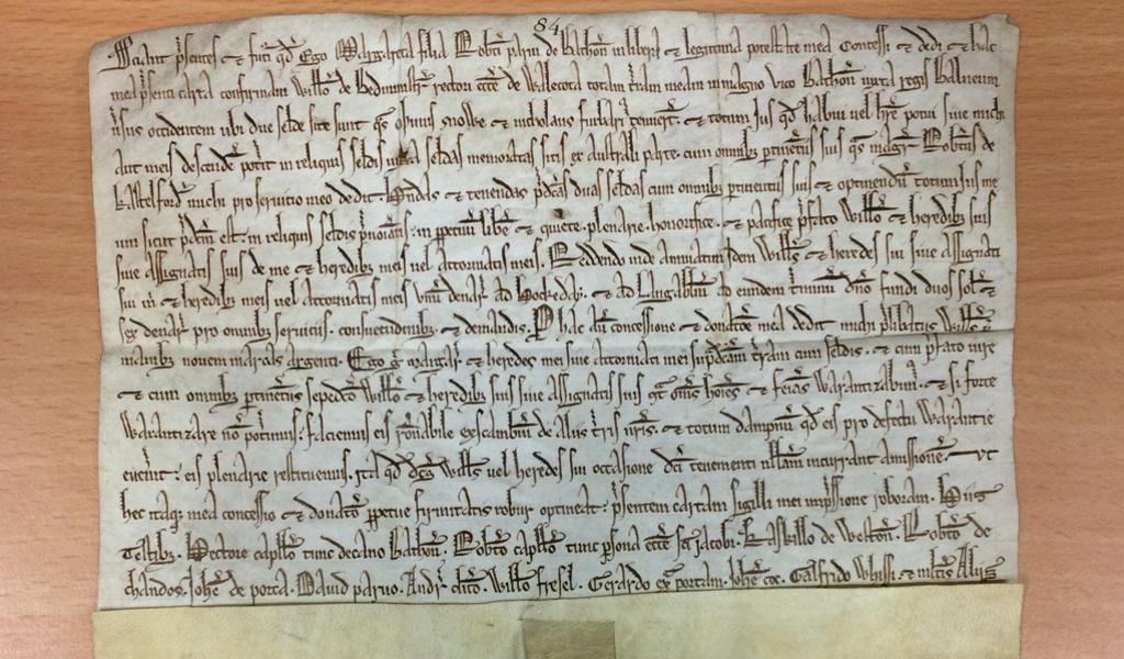 Image of a small parchment deed
