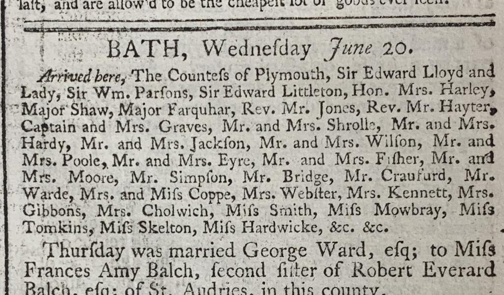 Visitors list from the Bath Chronicle June 1787
