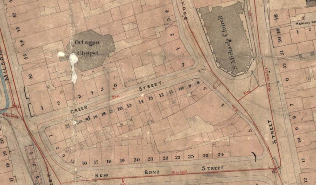 Part of one of the Cotterell maps showing the centre of Bath