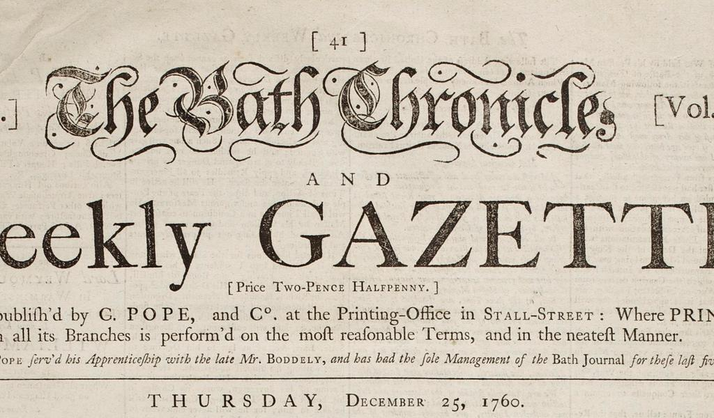 Masthead of the earliest surviving Bath Chronicle newspaper