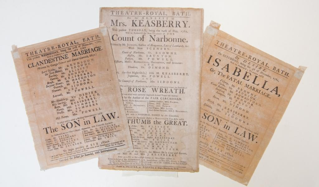 Image: Photograph of three Theatre Royal playbills