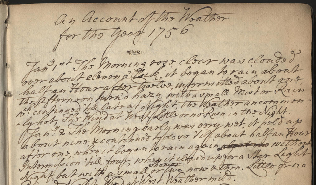 A page from a diary of 1756 describing the weather on January 1st