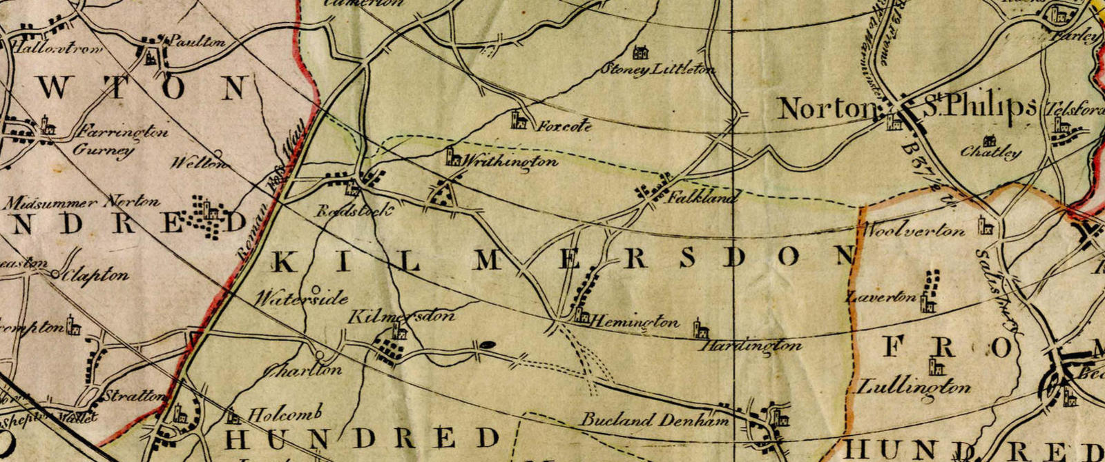 A colourful eighteenth century map of Somerset showing towns and villages around Radstock