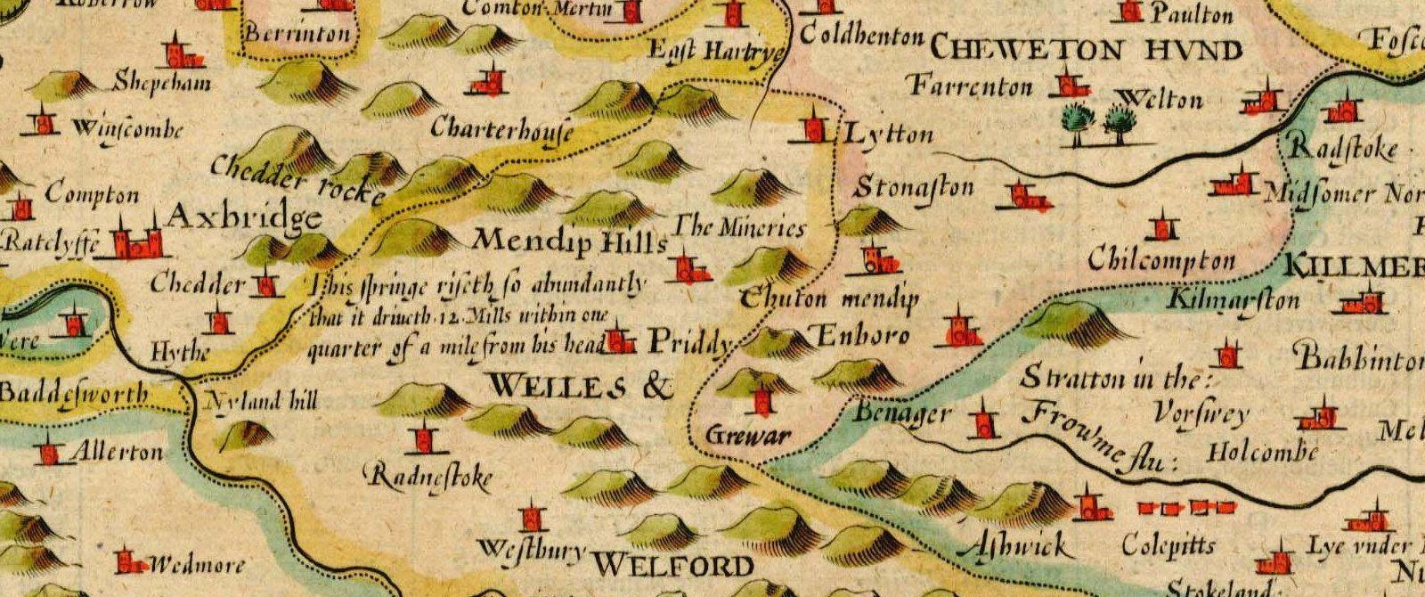 A colourful map of Somerset showing hills, towns and other features