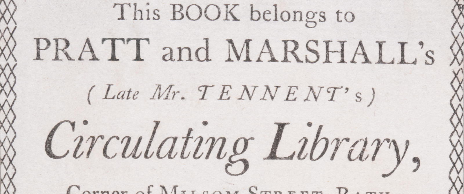 """A printed 18th centruy card announcing, """"This book belongs to Pratt and Marshalls Circulating Library"""""""