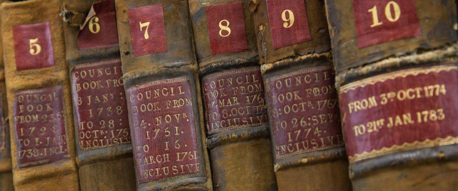 Photograph of old leather-bound volumes
