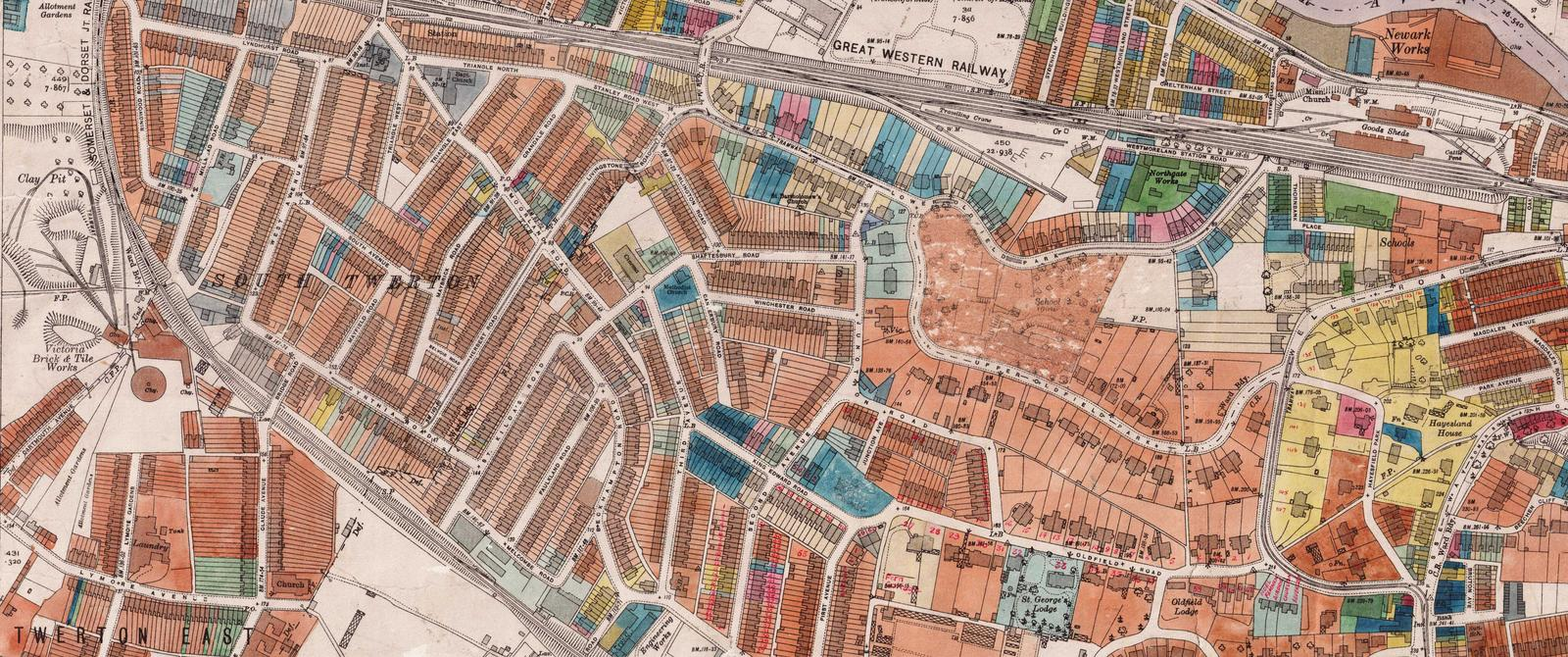 Part of a map showing damage to buildings during the 'Bath Blitz' of 1942