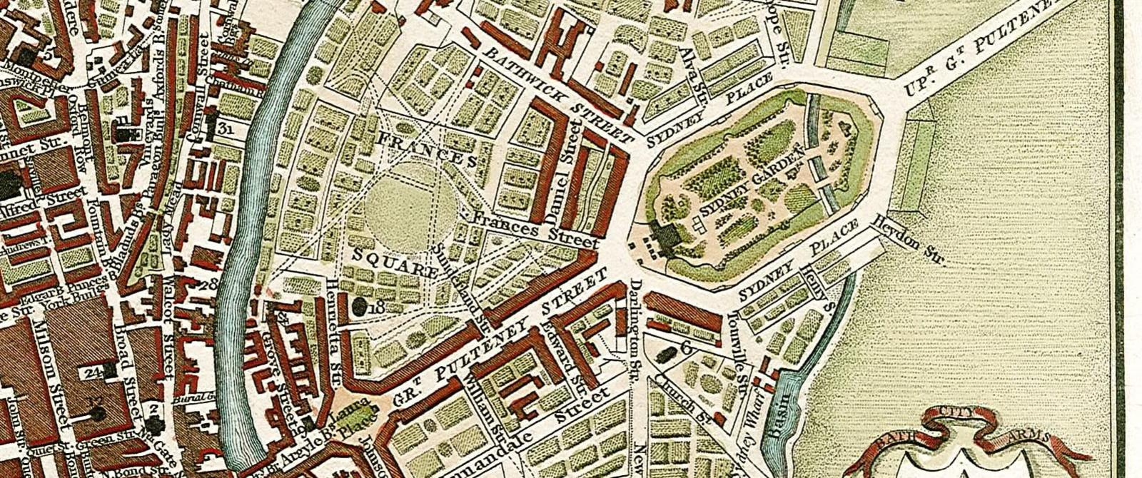 A colourful old map of Bath, showing Frances Square in Bathwick, which was never built