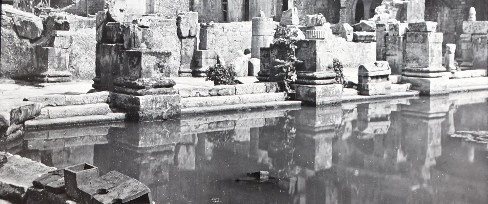 Glass slide of Great Bath shortly after its rediscovery