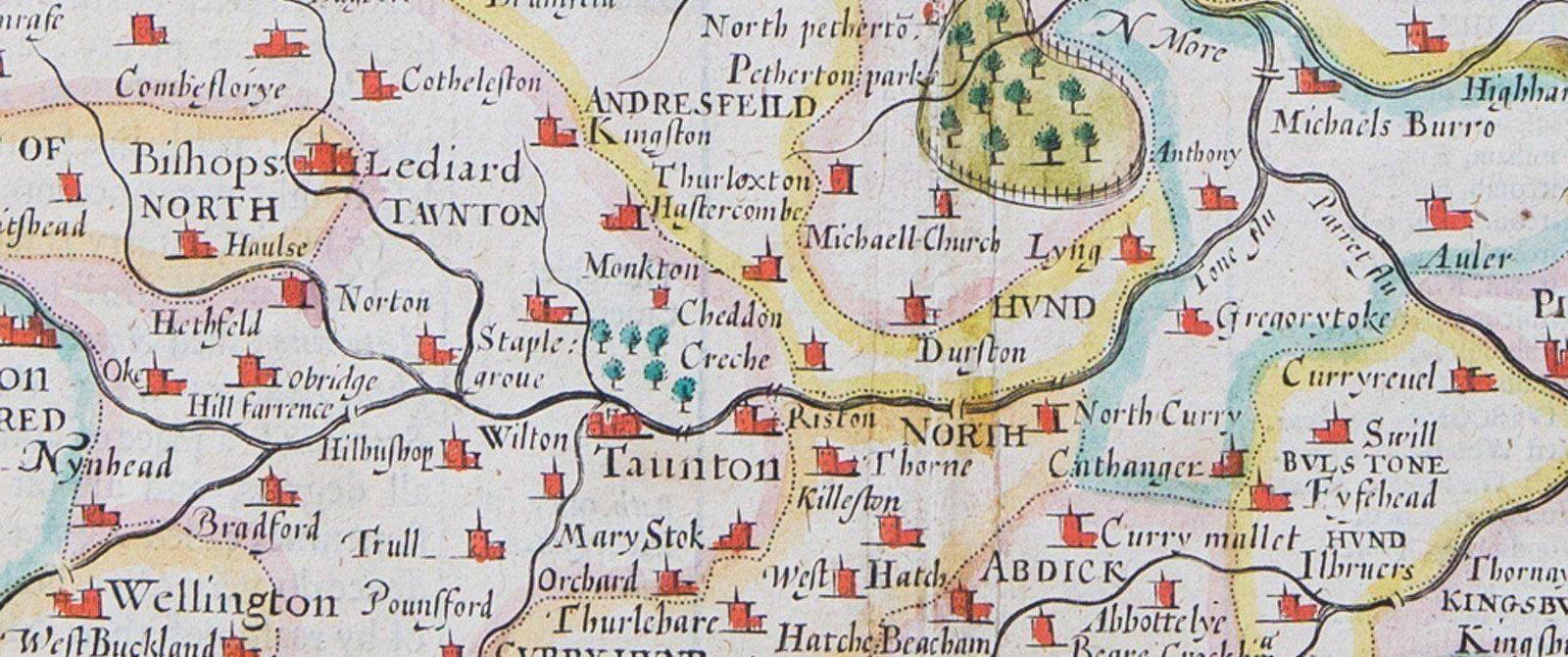Part of John Speed's map of Somerset, 1610