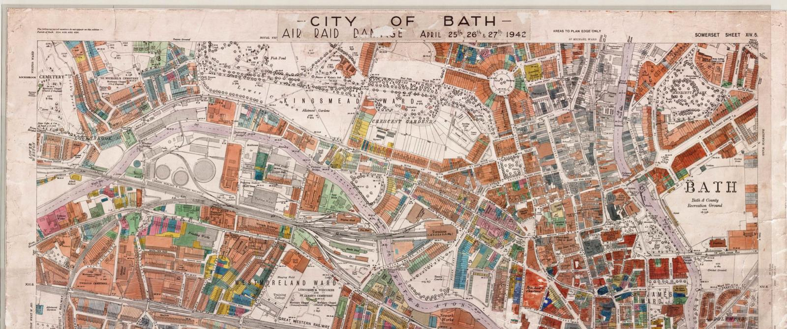 Map of damage from Bath Blitz of April 1942