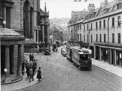 Photograph of Northgate Street, Bath, about 1935, showing a tram