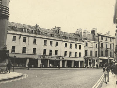 Photograph of Northgate Street, Bath, 1960s, showing Foyles Furniture store (ref.PX3970)