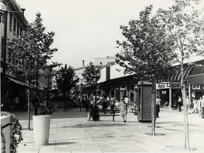 Photograph of Southgate Street, Bath, looking north, showing the new shopping centre, 1960s (ref. PX4607)