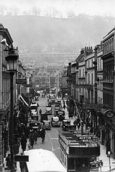 Photograph of Southgate Street, Bath, looking towards the railway and Beechen Cliff, about 1935 (ref. PX361)