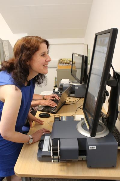 A member of staff using a computer for research