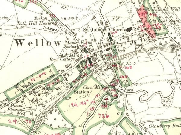 A coloured 1902 map of Wellow village showing the church, railway and many other features
