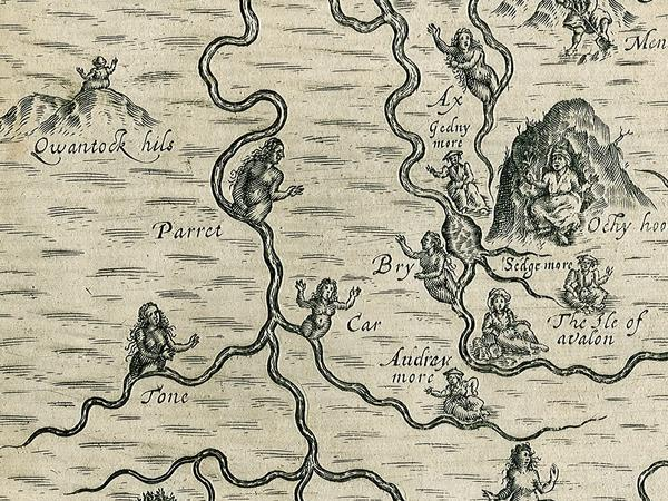 Part of an old map of Somerset with drawings of mythical creatures linked to rivers and other features