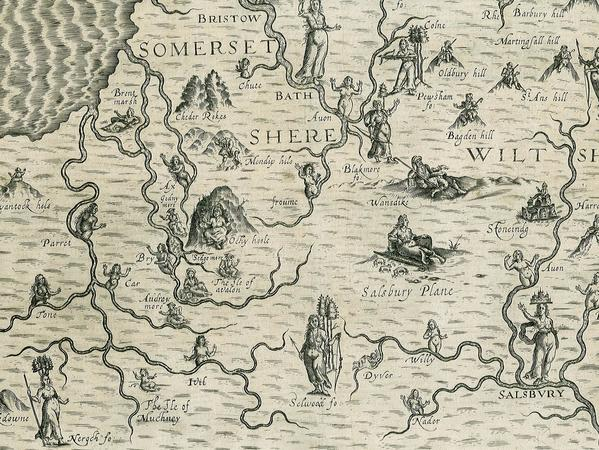 Old map of Somerset illustrated with figures relevant to the landscape