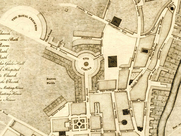 Part of a 1774 map of Bath showing the Royal Crescent half-built