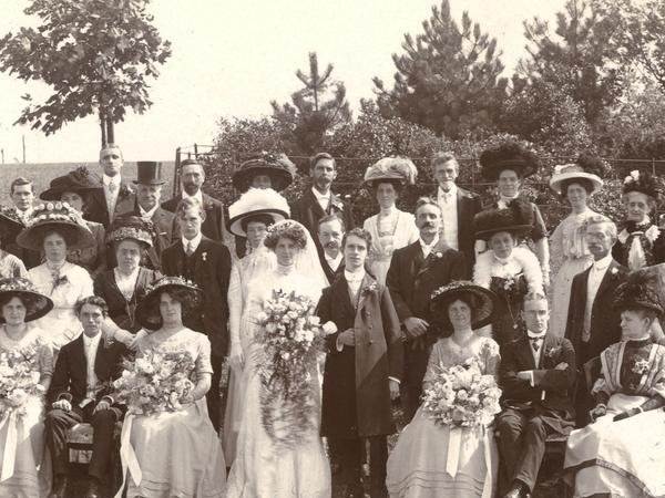 Black and white photograph of a family wedding c.1910