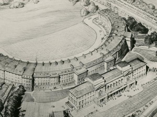 Black and white sketch of the Royal Crescent as a Civic Centre
