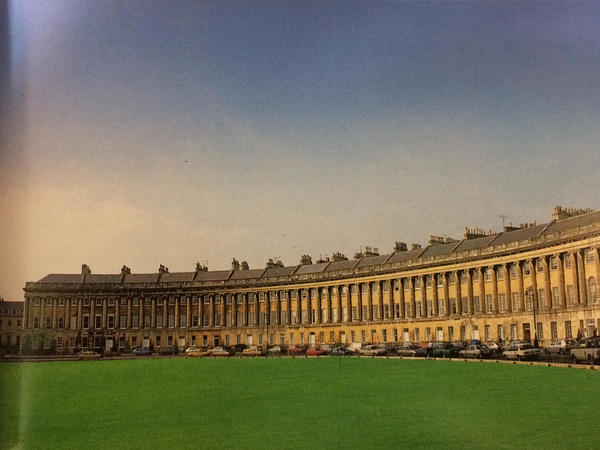 Colour photograph of the Royal Crescent in sunshine