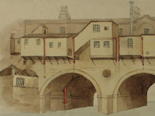 Detail from a watercolour sketch of the rear of Pulteney Bridge