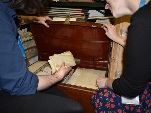 Image: Staff organising the collections