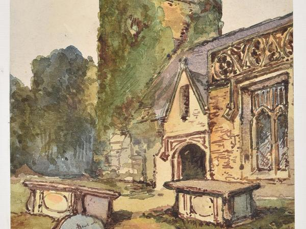 A watercolour image of Bathampton Church showing the tower covered in ivy