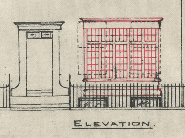 An architectural drawing plan showing a square bay window
