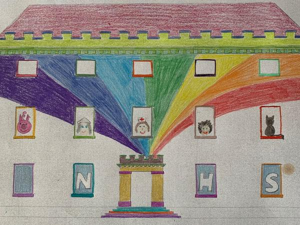 Colouring activity of house with rainbow