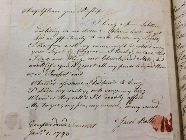 Letter from Jacob Bell, of Compton Dando, Somerset 1793
