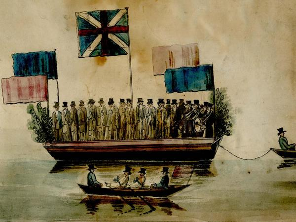 Early nineteenth-century picture of a very crowded river boat