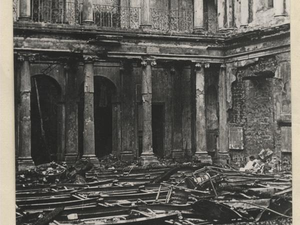 Black and white photo of the bombed interior of Assembly Rooms 1942