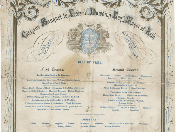 Decorated menu for the Mayor's banquet 1850